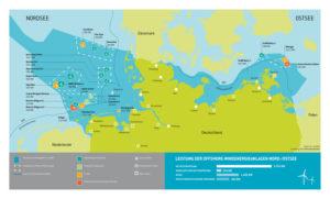 Stand des Ausbaus der Offshre Windenergie in Deutschland, am 30.06.2016 (Quelle: Stiftung Offshore-Windenergie)
