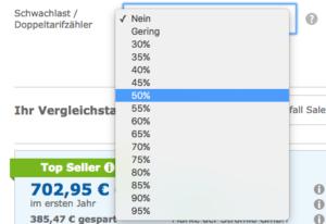 Bei Zweitarifzählern, geben Sie den prozentualen Anteil des NT (Nebentarifs) am Stromverbrauch an