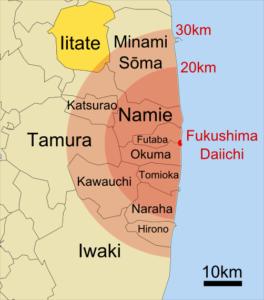 Sperrzone Fukushima auf Karte