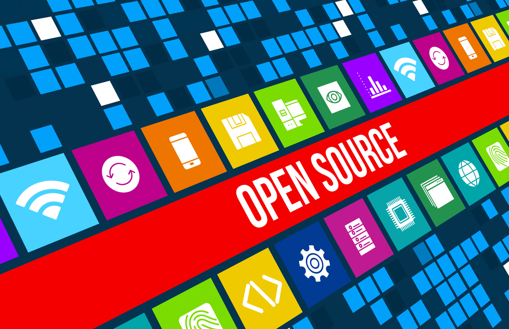 Open source concept image with business icons and