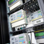 Digital gas meter, mounted in rack